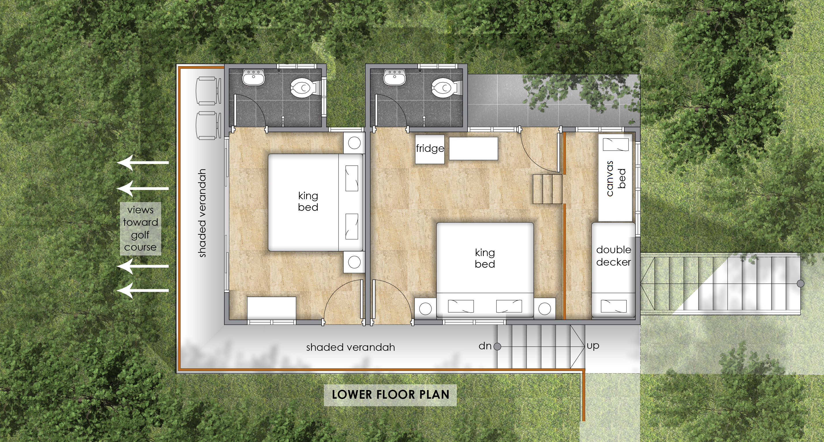 Golf-Facing Villa Lower Floor Plan