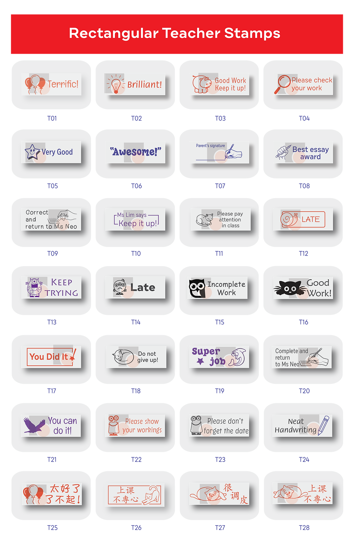 Stamps & Chops | Rectangular Teacher Stamps