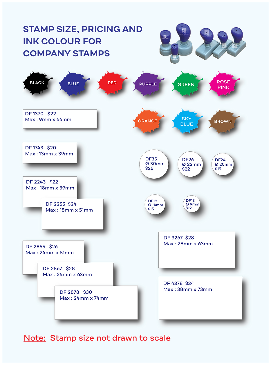Stamps & Chops - Company stamp size chart