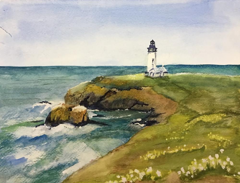 Oregon coast watercolor