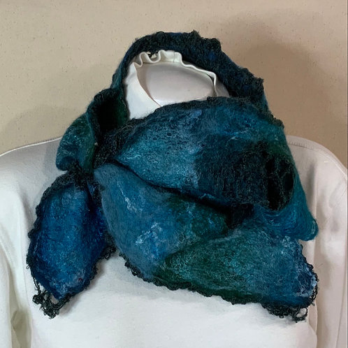 Vibrant Blue French Style Wet felted scarf