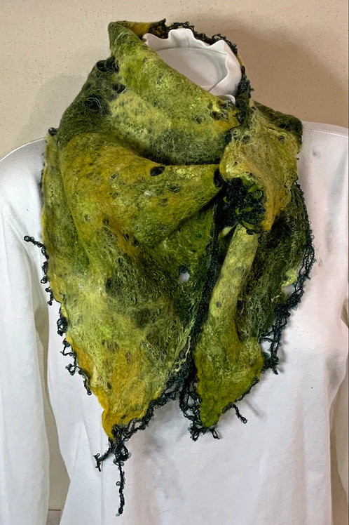 Green wet felted French style scarf