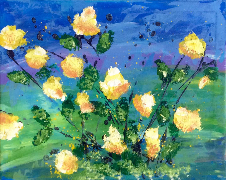 Flower Sponge Painting - ZOOM
