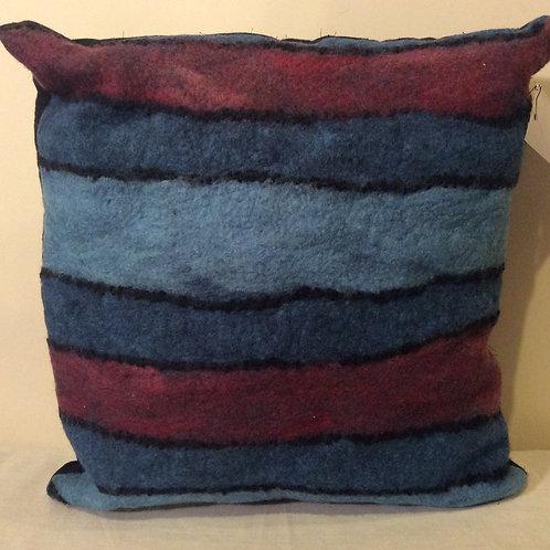 Beautiful geometric design wet felted pillow