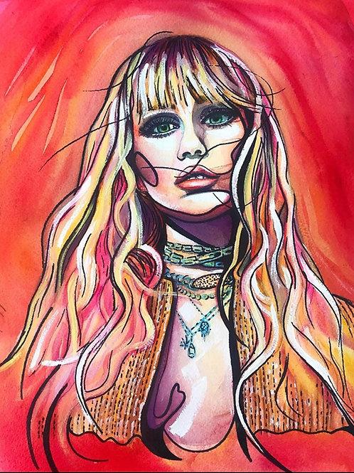 Red Miley Cyrus Original Watercolor