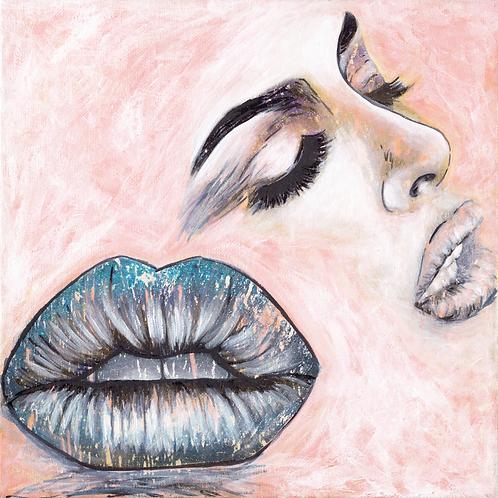 Blue Lips Paper Print