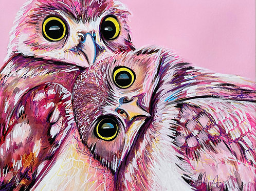 Pink Owl Watercolor