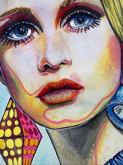 60s Twiggy Original Watercolor