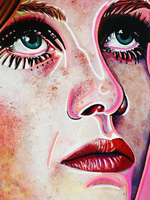 Twiggy in Pink Original Watercolor