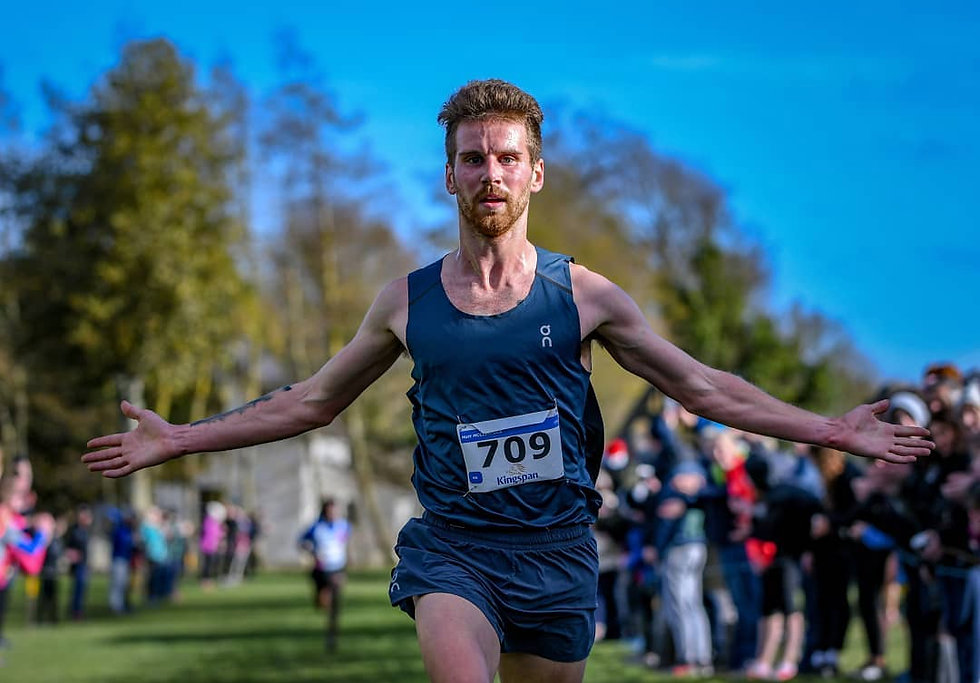 Man winning running race