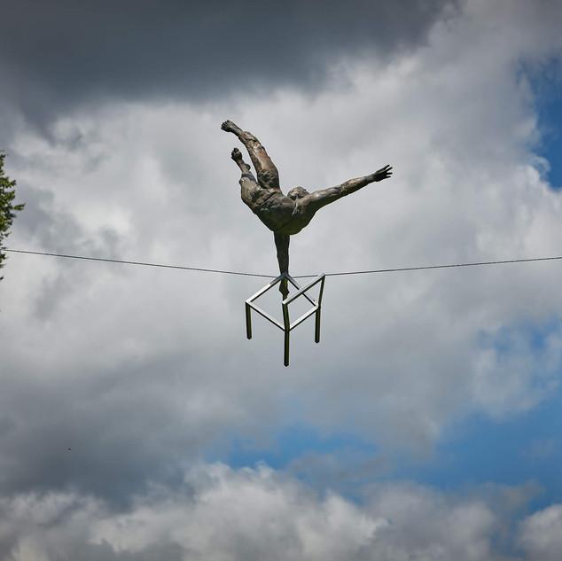Jerzy Kędziora, Acrobat With Chair, balancing sculpture