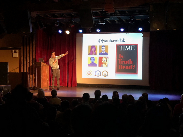 Jay Van Bavel gave a rousing talk on the partisan brain to a packed house at the Secret Science Club in Brooklyn in 2018