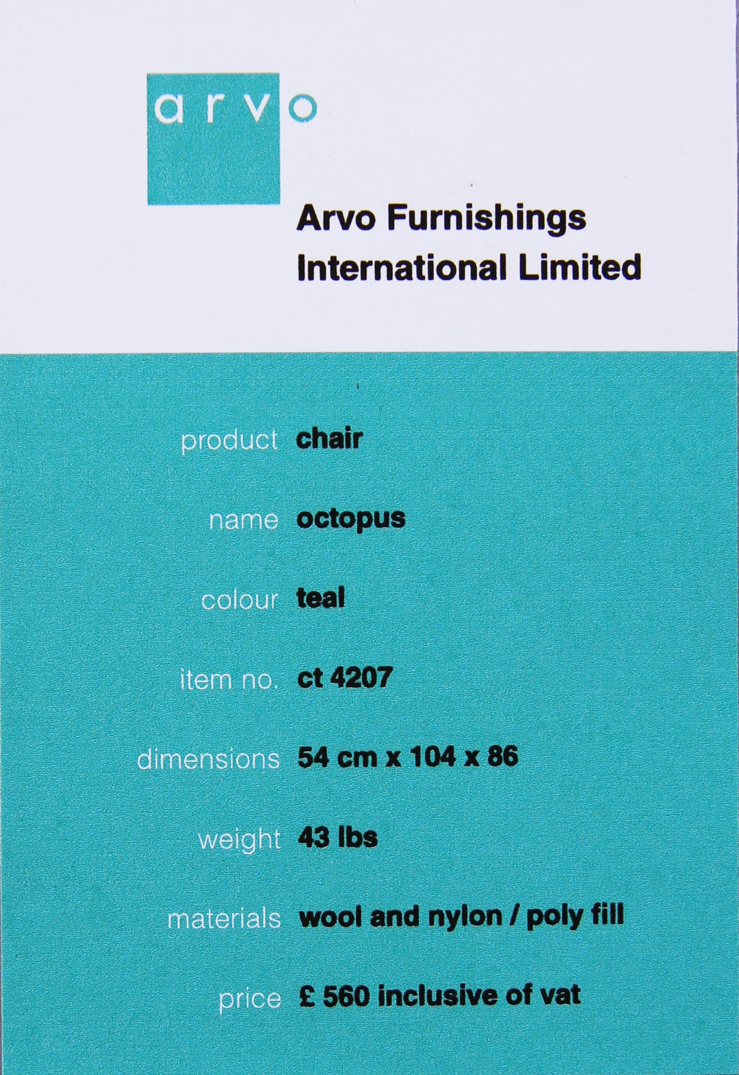 Arvo Furniture sales tag