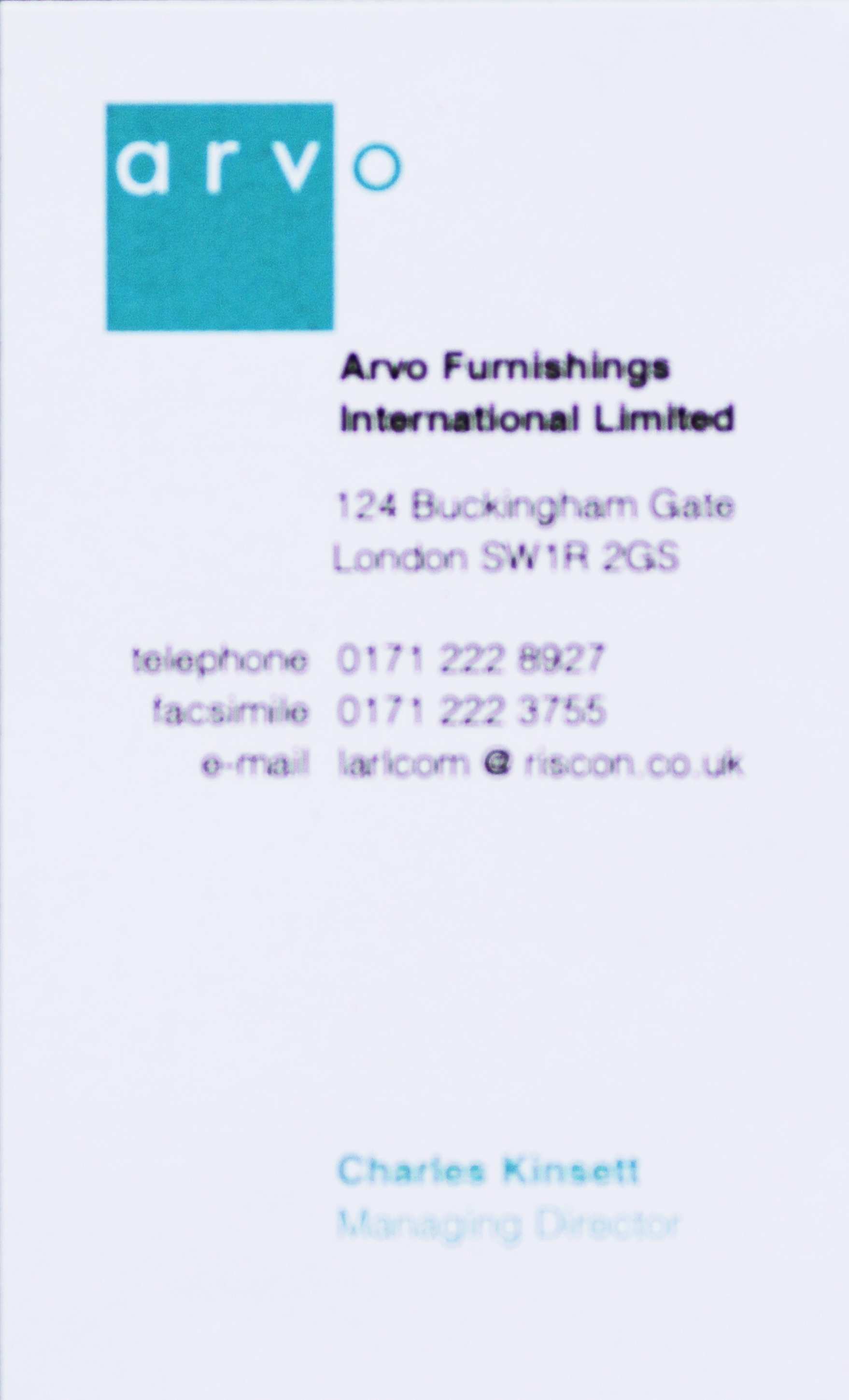 Arvo Furnishings Biz card