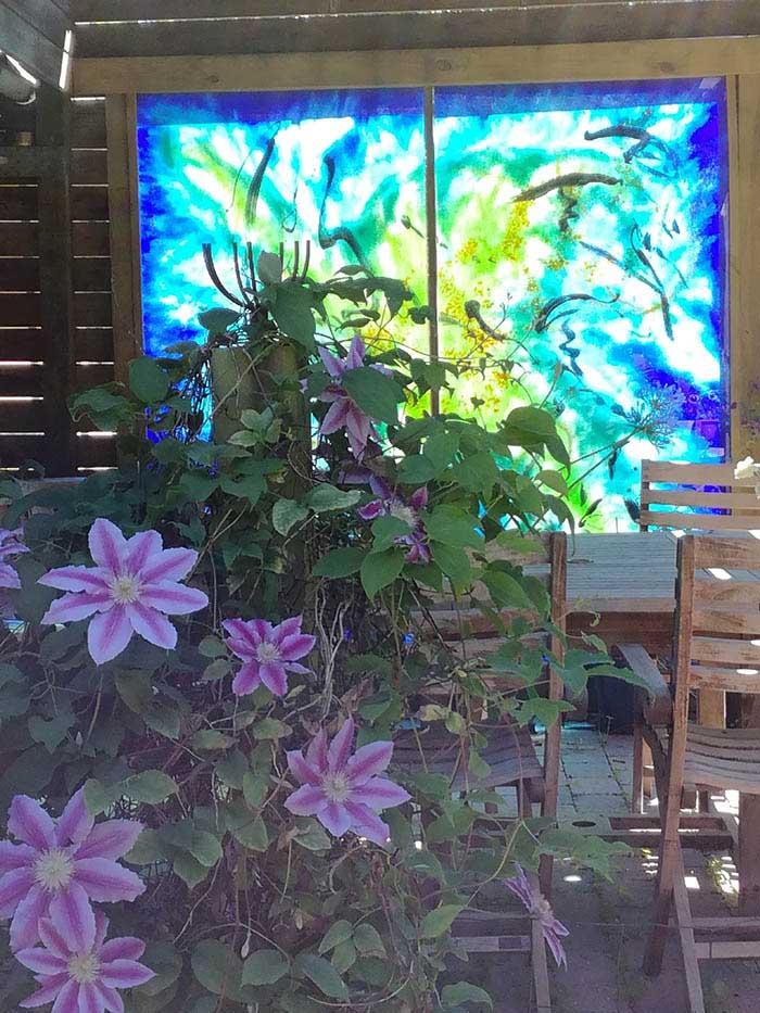 Glaskunst på terrassen