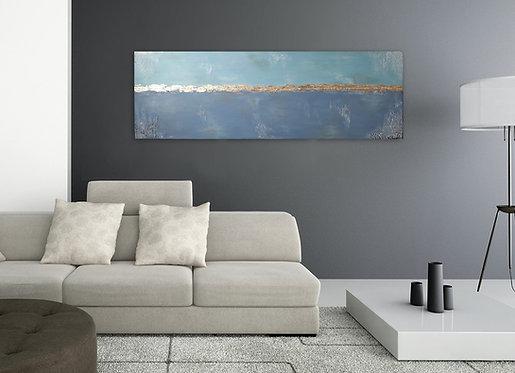 """Acryl Gemälde """"Blue Sky"""" 150x50cm Abstrakt mit Blattgold KUNST by VICTORIA"""