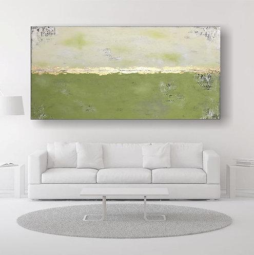 """Gemälde """"Spring I"""" 180x80cm Abstrakt mit Blattgold KUNST by VICTORIA"""