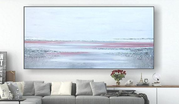 "Acryl Gemälde ""SEA VEW ROSE"" 250x120cm Abstrakt, inkl. Alu-Schattenrahmen"
