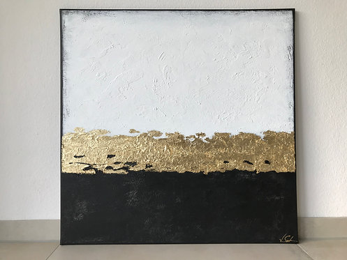 "Acryl Gemälde Abstrakt, Kunst mit Goldblatt""ELEGANCE"" 80x80cm"