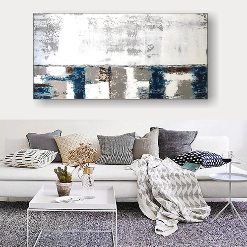 "Acrylbild Abstrakt auf Leinwand ""PATCHWORK"" 120x60cm,"