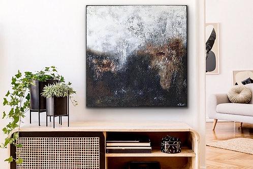 "Gemälde Mix Media ""THE ROCK I"" 90x90cm Abstrakt"