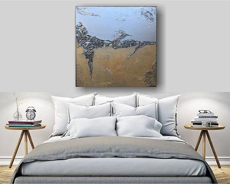 "XL Acryl Gemälde ""GOLD OCEAN"" 90x90 Abstrakt"