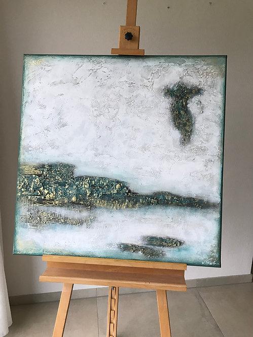 """Acryl Gemälde """"ICE"""" 80x80cm Abstrakt"""