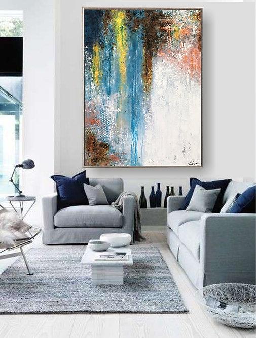 """Acryl Gemälde Abstrakt, Handgemalt """"CASCADE"""" 70x100cm KUNST by VICTORIA"""