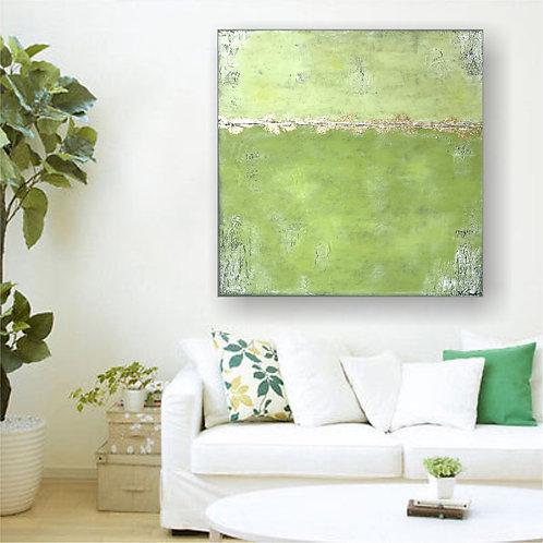 "XL Acryl Gemälde ""SPRING"" 90x90 Abstrakt mit Blattgold"