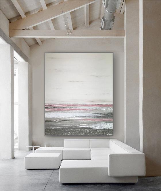 "Acryl Gemälde ""SEA VEW ROSE"" 100x120cm Abstrakt, inkl. Alu-Schattenfugenrahmen"