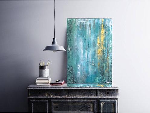 "Acryl Gemälde ""OCEAN BREEZE"" 50x70cm Abstrakt mi Alu-Schattenfugenrahmen"