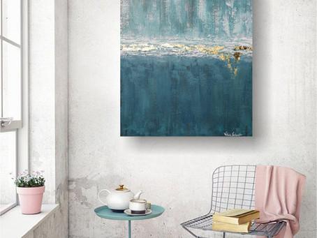 "Abstraktes Acrylbild ""Blue Ocean"" mit Goldblatt"