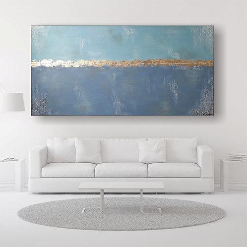 """Kopie von Acryl Gemälde """"Blue Sky"""" 160x80cm Abstrakt mit Blattgold KUNST by VICT"""