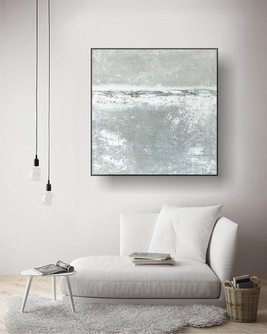 "Acryl Gemälde ""Stone II"" 80x80cm Abstrakt mi Alu-Schattenfugenrahmen"