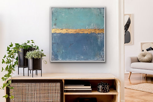 "Acryl Gemälde ""Blue Sky"" 80x80cm Abstrakt inkl. Alu Schattenfugenrahmen"