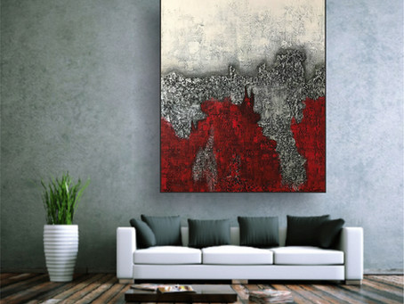 """XXL Acrylbild abstrakt mit Struktur """"SILVER-RED"""""""