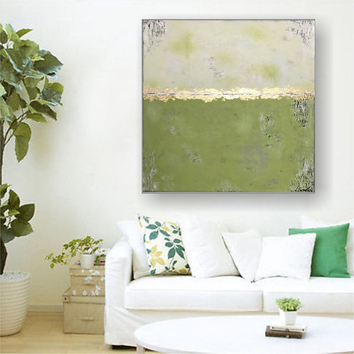 "XL Acryl Gemälde ""SPRING I"" 90x90 Abstrakt mit Blattgold"
