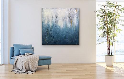 """Gemälde Mix Media Abstrakt, """"OUTBREAK II"""" 90x90 cm mit feinsten Goldpigmente"""