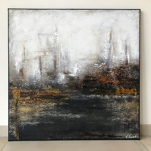 "Gemälde Mix Media ""THE ROCK"" 80x80cm Abstrakt mit Goldpigmenten Kunst by VICTO"