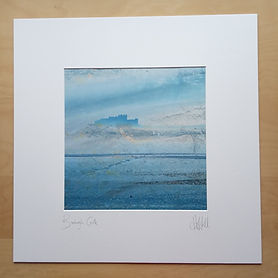 50 cm sq mounted print, Bamburgh Castle