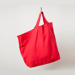 Linen Asymmetrical Tote / RED