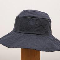 Wax Coated Cotton Hat / Wide Brim / NAVY