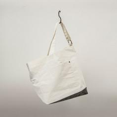Cotton White & Charcoal Asymmetrical Shoulder