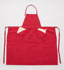 Linen Apron Standard /  Front Pocket / RED