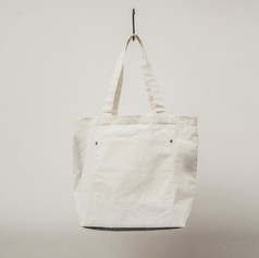 Cotton White & Charcoal Tote Large