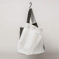 Cotton White & Charcoal Asymmetrical One Shoulder