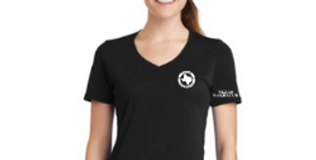 Ladies V-Neck Logo Tee - Black