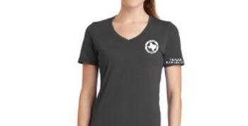 Ladies V-Neck Logo Tee - Gray