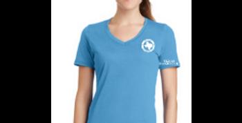 Ladies V-Neck Logo Tee - Carolina Blue