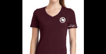 Ladies V-Neck Logo Tee - Maroon